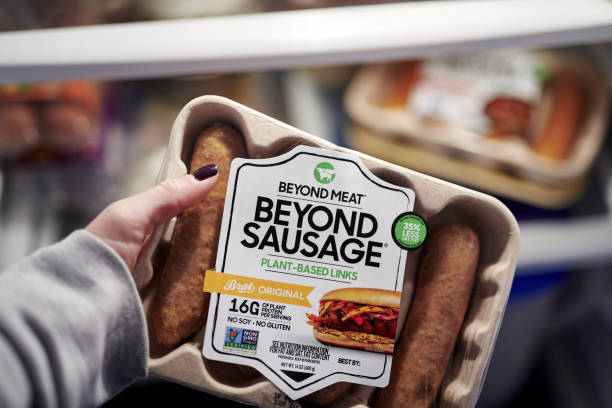 Package of Beyond Meat sausages arranged in the Brooklyn borough of New York, U.S., on Friday, Nov. 6, 2020. Beyond Meat Inc. Has been able to shift...