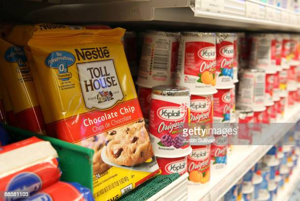 A package of Nestle Toll House chocolate chip cookies is displayed on a shelf at Bryan's Fine Foods June 19 2009 in San Francisco California Nestle...