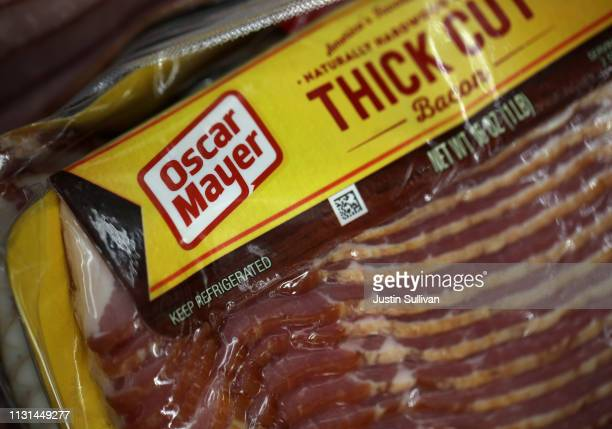 A package of Oscar Meyer bacon is displayed on a grocery store shelf on February 22 2019 in San Rafael California Kraft Heinz Co maker of Kraft and...