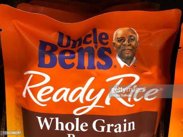 A package of Uncle Ben's rice is displayed on a shelf at a Safeway store on June 17 2020 in San Anselmo California Quaker Oats announced that it will...