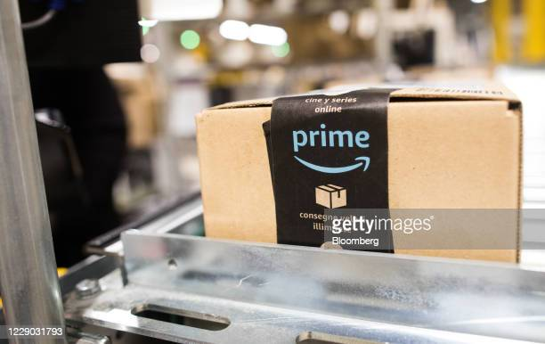 Package sits on a conveyor belt at an Amazon.com Inc. Fulfillment center in Kegworth, U.K., on Monday, Oct. 12, 2020. Prime Day, a two-day shopping...