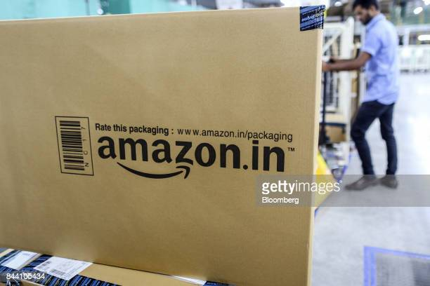 A package sits ready for shipment at the Amazoncom Inc fulfillment center in Hyderabad India on Thursday Sept 7 2017 Amazon opened its largest Indian...