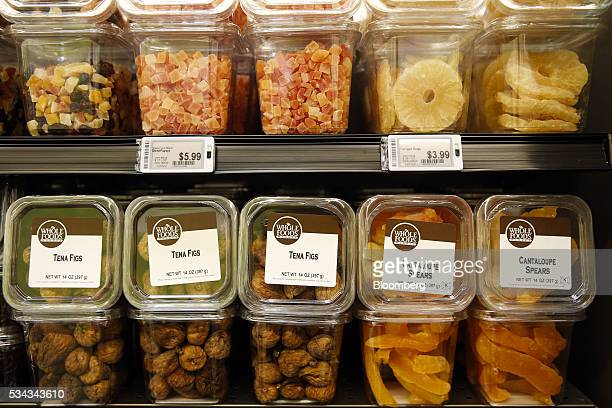 Packaged fruits and nuts are displayed for sale on the opening day of the 365 by Whole Foods Market store in the Silver Lake neighborhood of Los...
