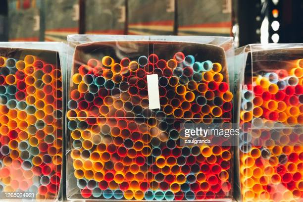 packaged plastic straws - single use stock pictures, royalty-free photos & images