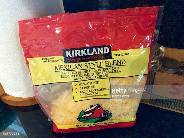 Packaged Shredded Blend of Cheeses in a plastic container bag