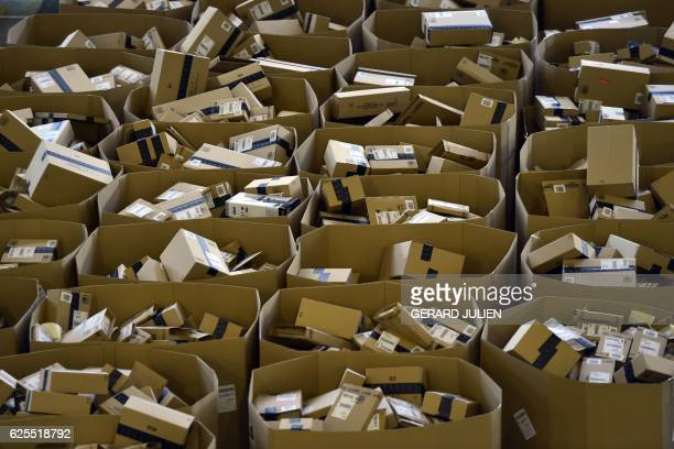 Packages are stored at the Amazon electronic commerce company's logistics center in San Fernando de Henares near Madrid on the eve of 'Black Friday'...