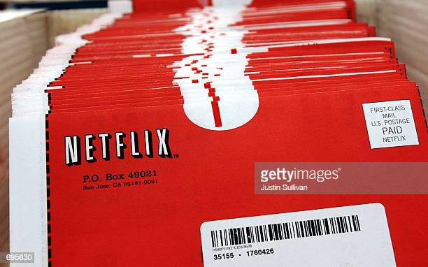 Packages of DVDs await shipment at the Netflixcom headquarters January 29 2002 in San Jose CA The online DVD rental site has 500000 subscribers who...