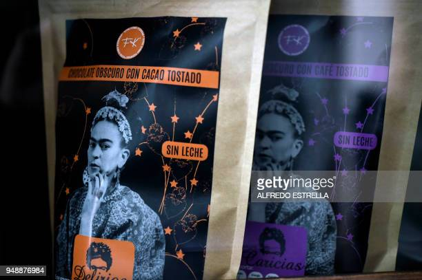 Packages of fine chocolates with the image of late Mexican artist Frida Kahlo are exhibited alongside other commercial products at her sister's house...