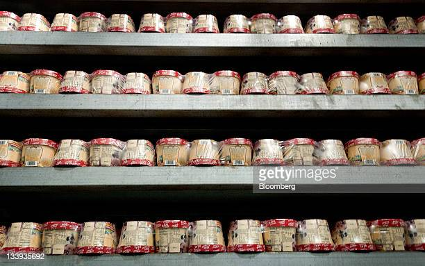 Packages of ice cream sit in the quick hardener at Turkey Hill LP's production facility in Contestoga Pennsylvania US on Monday Nov 21 2011 Turkey...