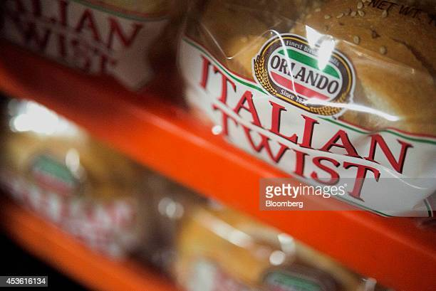 Packages of Italian Twist bread sit stacked for delivery in the shipping area at the Orlando Baking Co in Cleveland Ohio US on Wednesday Aug 13 2014...