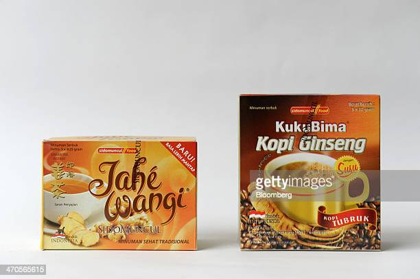 Packages of Jahe Wangi a ginger tea product left and Kuku Bima Kopi Ginseng a ginseng coffee product manufactured by PT Industri Jamu Dan Farmasi...