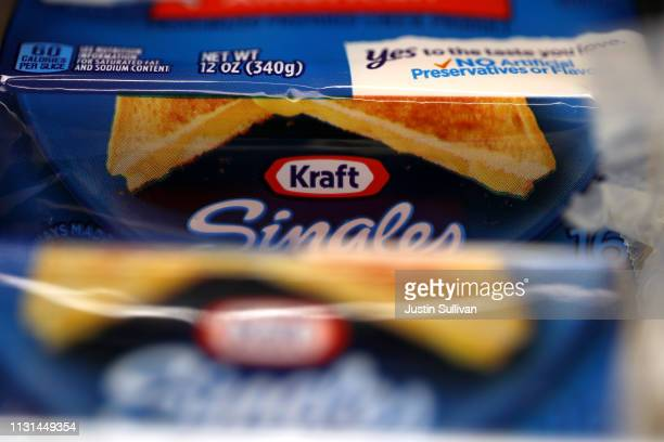 Packages of Kraft Singles are displayed on a grocery store shelf on February 22 2019 in San Rafael California Kraft Heinz Co maker of Kraft and Oscar...