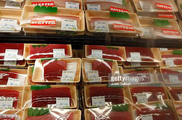 Packages of Maguro tuna sashimi are seen on display at the Nijiya Market January 23 2008 in San Francisco California According to a newspaper report...