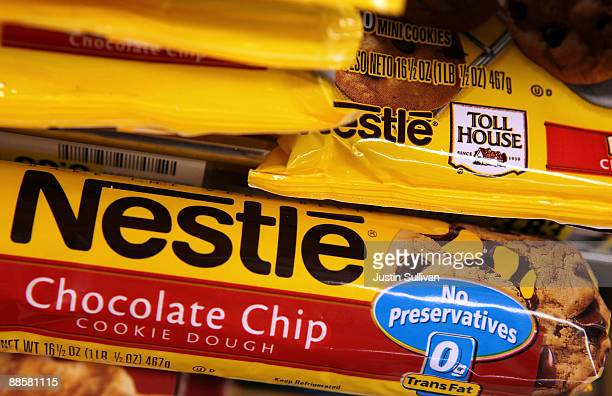 Packages of Nestle Toll House chocolate chip cookies are displayed on a shelf at Cal Mart Grocery June 19 2009 in San Francisco California Nestle is...