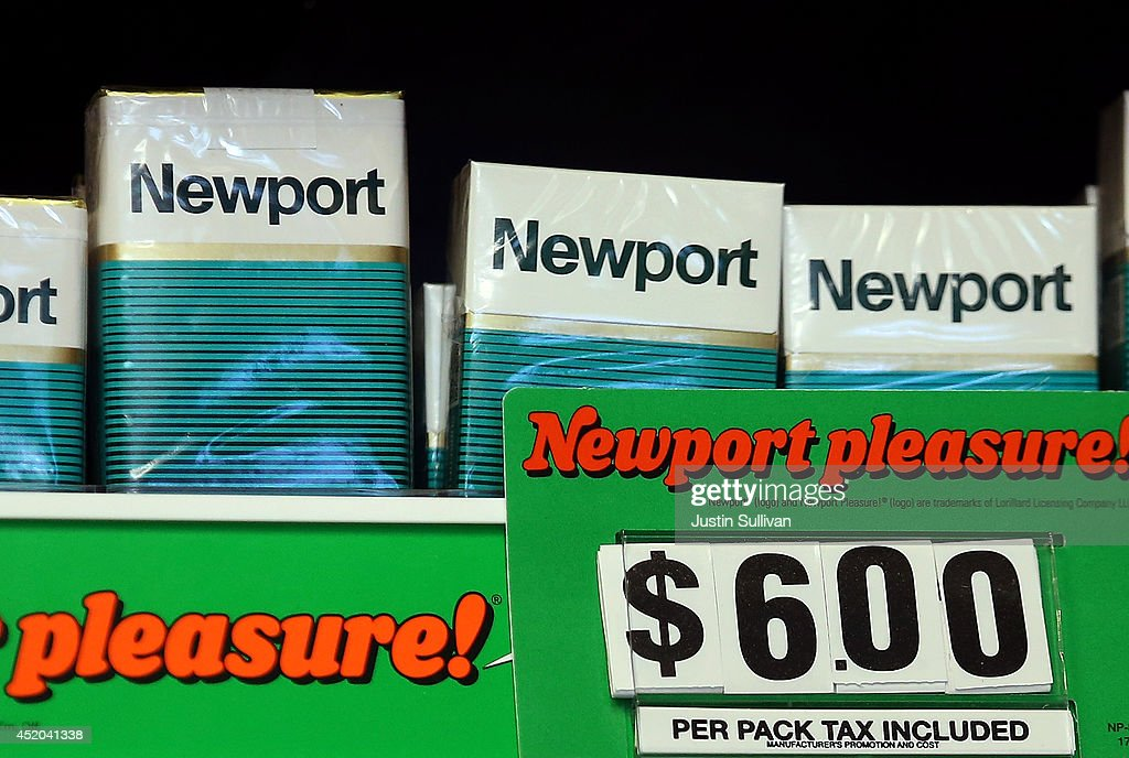 Packages of Newport cigarettes are displayed at a tobacco shop on July 11, 2014 in San Francisco, California. Tobacco giant Reynolds American is reportedly in talks with rival Lorillard Inc. in what is expected to be a multi-billion dollar deal.