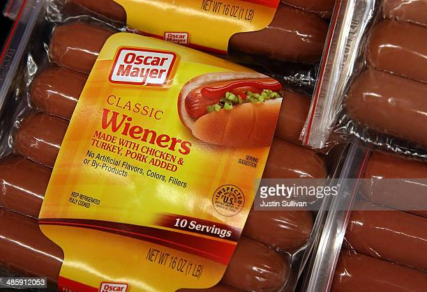 Packages of Oscar Mayer Classic wieners are displayed at Scotty's Market on April 21 2014 in San Rafael California Kraft Foods announced that they...