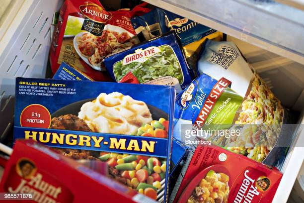 Packages of Pinnacle Foods Inc Birds Eye HungryMan Aunt Jemima Frozen Breakfast and Armour brand frozen foods are arranged for a photograph in...
