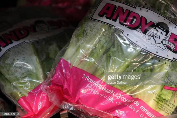 Packages of Romaine lettuce are displayed on a shelf at a supermarket on April 23 2018 in San Rafael California The Food and Drug Administration and...