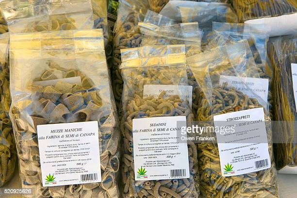 packages of traditional local pastas, at a farmers market fair, Locorotondo, Puglia, Italy