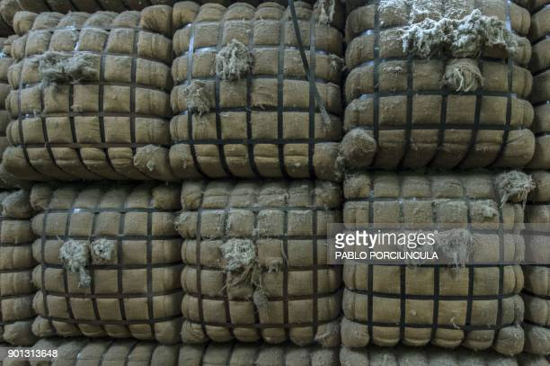 Packages of wool are seen at Tops Fray Marcos factory in Libertad San Jose 90km west from Montevideo on December 1 2017 Located between Brazil and...