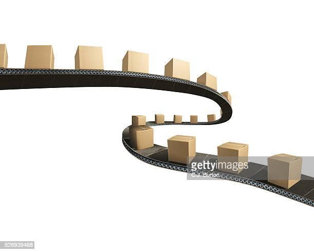 packages on a conveyor belt - コンベヤーベルト ストックフォトと画像