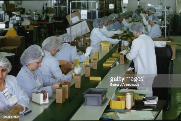 Packaging lines in the Shiseido factory of perfume and cosmetics in the 'Cosmetic Valley' located in Gien and Ormes in the French area of Loiret