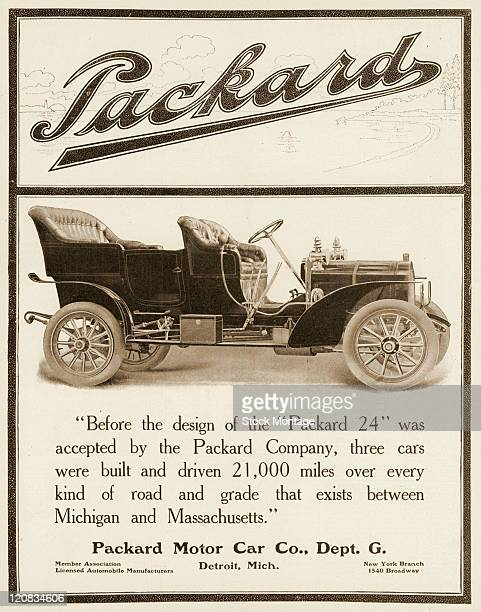 A Packard 24 automobile is shown in a magazine advertisement dated 1906