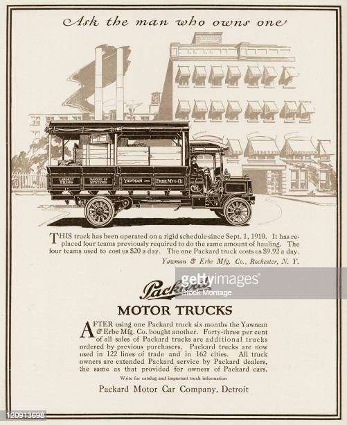 """Packard motor truck is shown in a magazine advertisement from 1911. In the ad, a customer testimonial regarding the truck pictured states, """"It has..."""