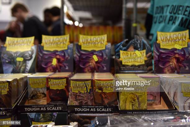 Packects of Dragon Shield cards on sale at the Pokemon European International Championships at ExCel on November 17 2017 in London England Thousands...