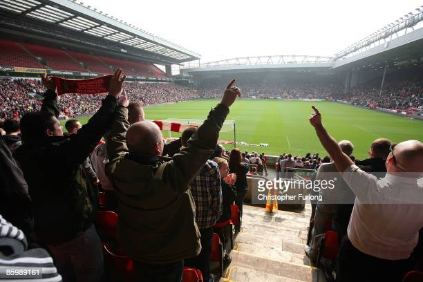 A packed Anfield stadium sing' You'll Never Walk Alone' during the Hillsborough memorial at Anfield on April 15 Liverpool England Thousands of fans...