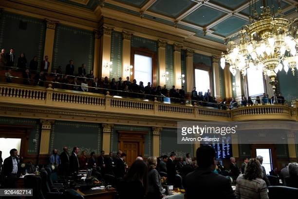 A packed Colorado State House of Representatives before a rare vote to expel State Representative Steve Lebsock as he faces accusations of sexual...
