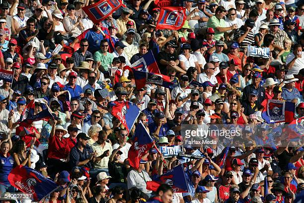 A packed crowd cheers the Knights during the NRL Round 1 match between the Newcastle Knights and the Parramatta Eels at Energy Australia Stadium 11...