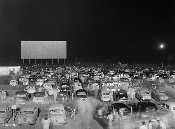 A packed drivein theater in Rome Italy on its opening night in August 1957