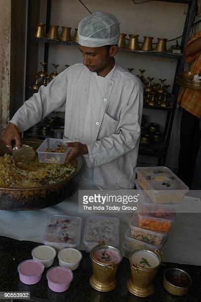 Packed food Biryani Merchant at Castle Road in Bangalore Karnataka India