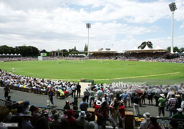 A packed house enjoys the action during day one of the second Ashes Test Match between Australia and England at the Adelaide Oval on December 1 2006...