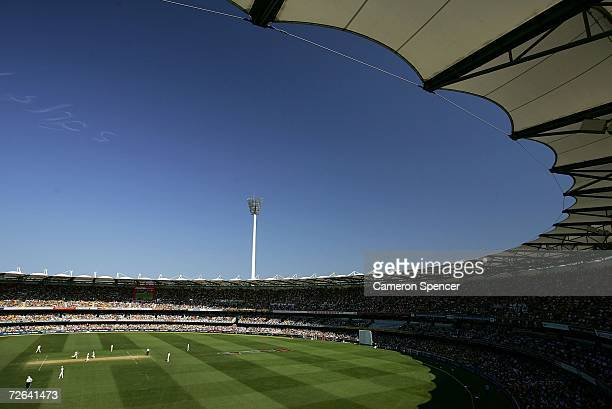 A packed house enjoys the action during day three of the first Ashes Test Match between Australia and England at The Gabba on November 25 2006 in...