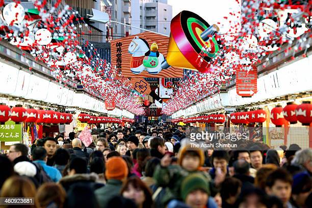 Packed 'Nakamise' shopping street is seen as people prepare for the new year on December 30 2013 in Tokyo Japan