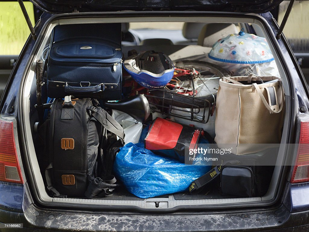 A packed trunk on a car. : Stock Photo