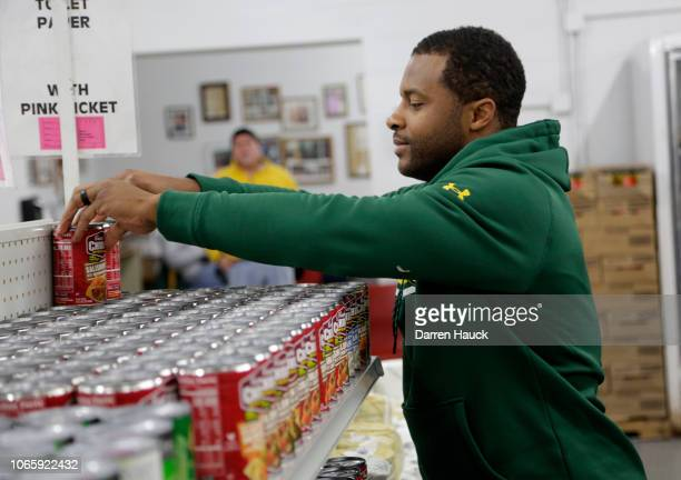Packers Randall Cobb and Campbell's Chunky Soup Donate 50000 Bowls of Soup on Giving Tuesday November 27 2018 in Green Bay Wisconsin