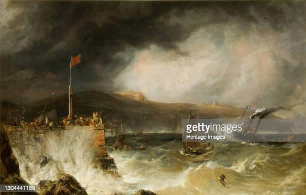 Packet Boat Entering Harbour, 1855. Artist Anthony Vandyke Copley Fielding.