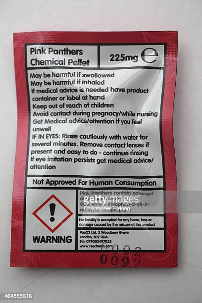 A packet containing a 'Legal High' chemical pill is displayed on a table on February 26 2015 in Manchester England There has been a significant rise...