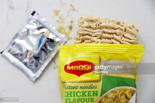 Packet of Maggi chicken flavour instant noodles, manufactured by Nestle SA, arranged in London, U.K., on Monday, July 26, 2021. Nestle report their...