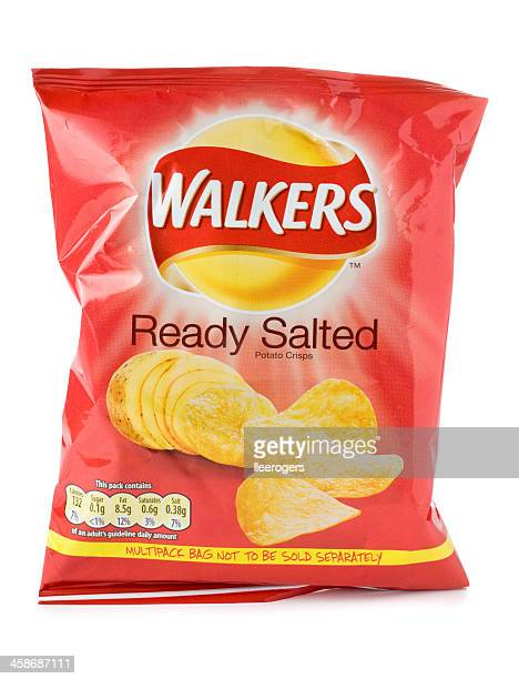 Packet of Walkers ready salted crisps on a white background