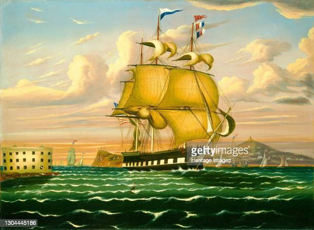Packet Ship Passing Castle Williams, New York Harbor, mid 19th century. Artist Thomas Chambers.
