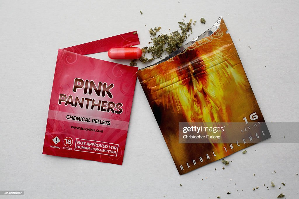 Packets containing 'Legal Highs' are displayed on a table on February 26, 2015 in Manchester, England. There has been a significant rise in the use of Legal Highs that are actually not against the law. They contain one or more chemical substances which produce similar effects to illegal drugs and can be purchased in local 'Headshops.' The 'highs' are not controlled under the Misuse of Drugs Act 1971 and can be purchased in many forms including pills, potions and herbs.