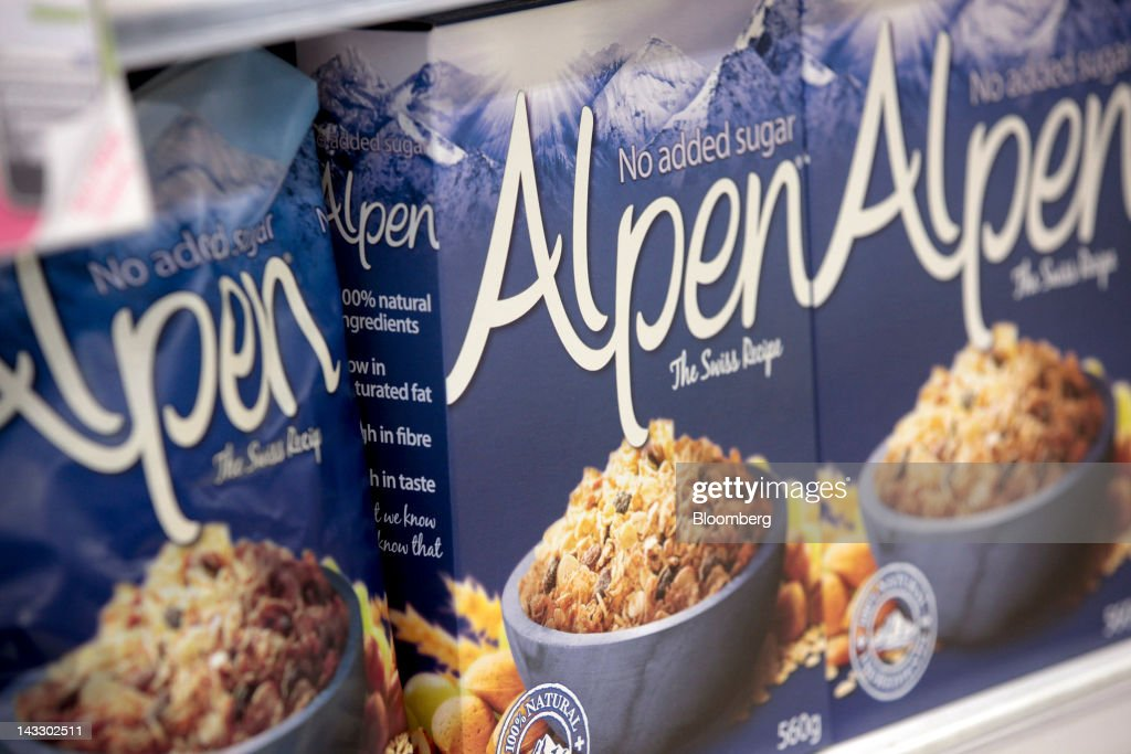 Packets of Alpen breakfast cereal, produced by Weetabix Ltd., sit on a shelf inside a supermarket in Slough, U.K., on Monday, April 23, 2012. Bright Food Group Co., China's second-largest food company, denied media reports that it is in talks to buy British cereals maker Weetabix Ltd. from private equity firm Lion Capital. Photographer: Jason Alden/Bloomberg via Getty Images