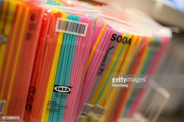 Packets of brightly colored soda straws sit on display in the Ikea AB retail store in Khimki Russia on Monday Oct 3 2016 Ikea's Russia unit may spend...