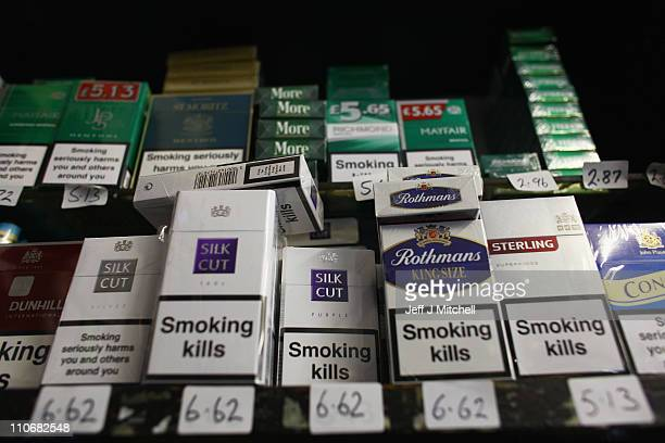 Packets of cigarettes are displayed for sale at James Harvie Tobacconist on March 23 in Paisley Scotland The Chancellor is expected to implement...