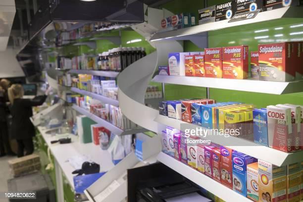 Packets of CoCodamol Solpadeine Paracetamol Panadol Anadin Disprin Calpol Ibuprofen and Nurofen sit alongside other overthecounter medications on the...