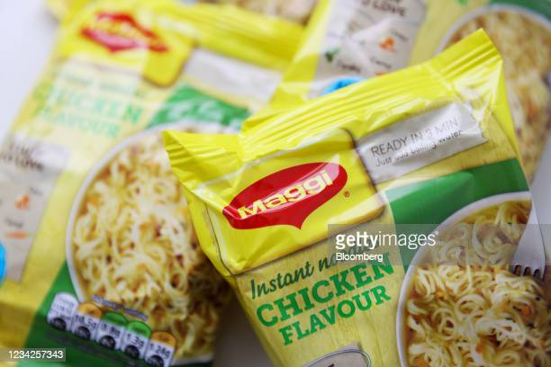 Packets of Maggi instant noodles, manufactured by Nestle SA, arranged in London, U.K., on Monday, July 26, 2021. Nestle report their half-year...